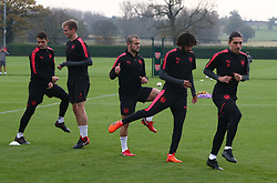 November 1, 2017 - London, England, United Kingdom - L-R Arsenal's Rob Holding, Arsenal's Jack Wilshere and Arsenal's Hector Bellerin.during a Arsenal training session ahead of the UEFA Europa League Group H match against Red Star Belgrade (Crvena Zvezda)  at Arsenal training centre , London Colney on 1 Nov  2017 St.Albans, England  (Credit Image: © Kieran Galvin/NurPhoto via ZUMA Press)