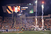 Photographs of Cincinnati Bengals quarterback AJ McCarron (5) are shown on the Paul Brown Stadium scoreboard in this general view, wide angle photograph of the stadium interior taken during pregame player introductions with a smoke and fire display used before the Cincinnati Bengals NFL AFC Wild Card playoff football game against the Pittsburgh Steelers on Saturday, Jan. 9, 2016 in Cincinnati. The Steelers won the game 18-16. (©Paul Anthony Spinelli)