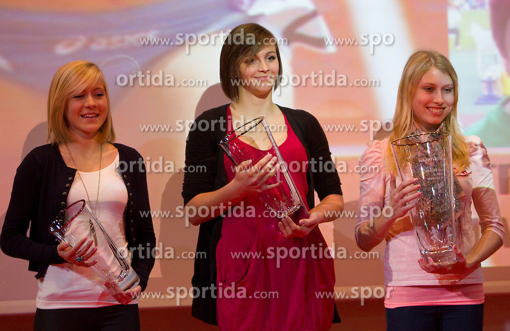 Dorotea Rebernik, Eva Vivod and Marusa Mismas  during the Slovenia's Athlete of the year award ceremony by Slovenian Athletics Federation AZS, on November 12, 2008 in Hotel Mons, Ljubljana, Slovenia.(Photo By Vid Ponikvar / Sportida.com) , on November 12, 2010.