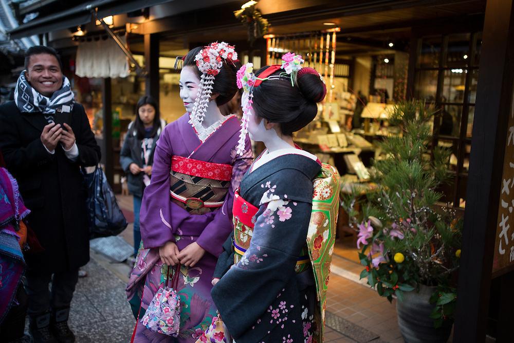 KYOTO , JAPAN - JANUARY 10 : A maiko dress in Kimono walks in the street of Kiyomizu-dera, Kyoto prefecture, Japan on Sunday, January 10, 2016.  Photo: Richard Atrero de Guzman