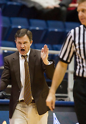 December 29, 2009; Berkeley, CA, USA;  Utah Valley Wolverines head coach Dick Hunsaker  recieves a technical foul during the second half against the Furman Paladins at the Haas Pavilion.  Furman defeated Utah Valley 77-69.