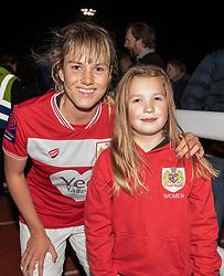 Gemma Evans of Bristol City poses with a supporter - Mandatory by-line: Paul Knight/JMP - 17/11/2018 - FOOTBALL - Stoke Gifford Stadium - Bristol, England - Bristol City Women v Liverpool Women - FA Women's Super League 1