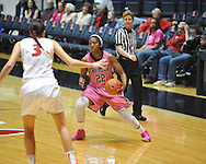 """Ole Miss' Danielle McCray (22) vs. Georgia's Anne Marie Armstrong (3) in women's basketball at the C.M. """"Tad"""" Smith Coliseum in Oxford, Miss. on Sunday, February 24, 2013. Georgia won 73-54."""