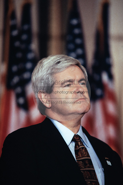 """U.S Speaker of the House, Newt Gingrich of Georgia attends a ceremony celebrating the first anniversary of the Republicans """"Contract with America"""" on Capitol Hill September 27, 1995  in Washington, DC."""