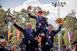 DodderTeam Deutschland, Gold medal, von Sten Georg, Brauchle michael, Sandmann Anna<br /> Prizegiving FEI rider of the year<br /> Driving European Championship <br /> Donaueschingen 2019<br /> © Hippo Foto - Dirk Caremans<br /> Team Deutschland, Gold medal, von Sten Georg, Brauchle michael, Sandmann Anna