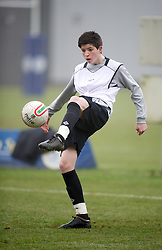 CARDIFF, WALES - Thursday, March 15, 2012: Wales U16's Joe Pugh (Hull City FC & Hungerhill School) during a training session at the Glamorgan Sports Park. (Pic by David Rawcliffe/Propaganda)