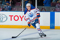 PENTICTON, CANADA - SEPTEMBER 9: Kirill Maksimov #57 of Edmonton Oilers warms up against the Winnipeg Jets on September 9, 2017 at the South Okanagan Event Centre in Penticton, British Columbia, Canada.  (Photo by Marissa Baecker/Shoot the Breeze)  *** Local Caption ***