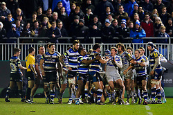 Players from both sides scuffle - Photo mandatory by-line: Rogan Thomson/JMP - 07966 386802 - 28/02/2014 - SPORT - RUGBY UNION - The Recreation Ground, Bath - Bath Rugby v Saracens - Aviva Premiership.