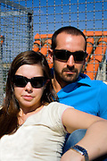 cool couple with sunglasses landscape