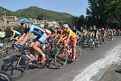 September 12, 2017 - Yunzhu, China - The peloton of riders with Luka Pacioni from Androni-Sidermec-Bottecchia team in the Leader Yellow Jersey during the second stage Jinzhong A to B race of the 2017 Tour of China 1, the 197km from Dazhai to Yunzhu. .On Tuesday, 12 September 2017, in Dashai, Jinzhong, Shanxi Province, China. (Credit Image: © Artur Widak/NurPhoto via ZUMA Press)