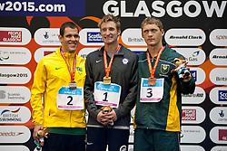 SNYDER Bradley, SOUSA Matheus, HERBST Hendri USA, BRA, RSA at 2015 IPC Swimming World Championships -  Men's 100m Freestyle S11 PODIUM