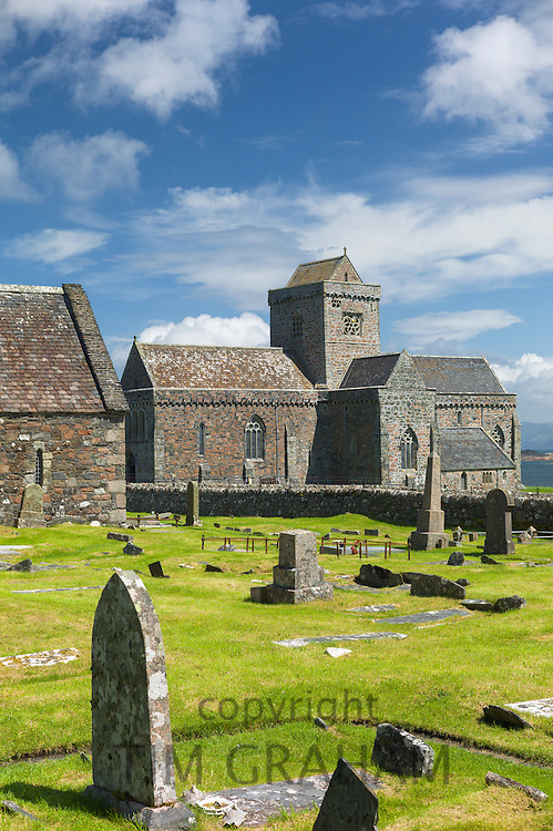 Iona Abbey and graveyard - burial place of kings and clan chiefs - on Isle of Iona in the Inner Hebrides and Western Isles, West Coast of Scotland