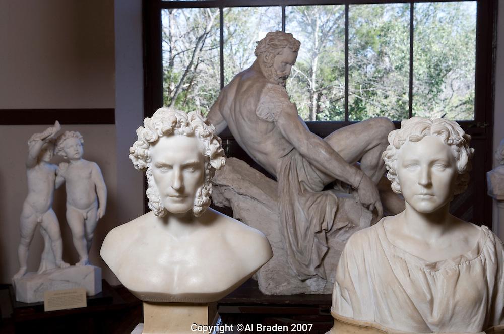 Elizabeth Ney, Dr. Edmund Montgomery and Prometheus Bound Sculptures at Elizabet Ney Museum, Austin, Texas.
