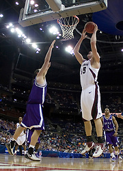 Southern Illinois Salukis forward Tony Boyle (35) shoots against Holy Cross.  The #4 seed Southern Illinois Salukis defeated the #13 seed Holy Cross Crusaders 61-51  in the first round of the Men's NCAA Tournament in Columbus, OH on March 16, 2007.