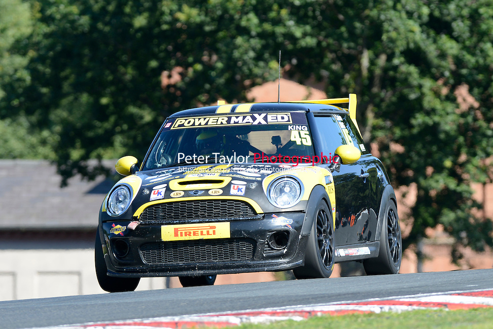 #45 Calum King Mini JWC during Power Maxed Mini Challenge - F56/JCW - Qualifying  as part of the Mini Festival  at Oulton Park, Little Budworth, Cheshire, United Kingdom. August 08 2015. World Copyright Peter Taylor. Copy of publication required for printed pictures.  Every used picture is fee-liable. http://archive.petertaylor-photographic.co.uk