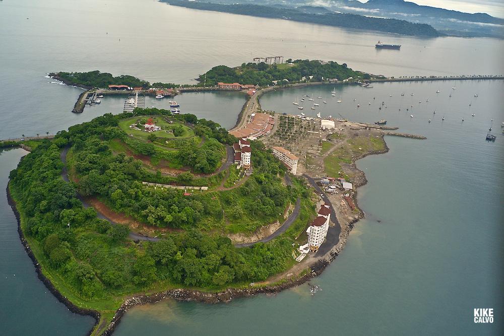 Aerial views Amador Causeway, including Flamenco Island, Perico Island and Naos. Panama.