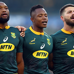 The South African players sings the National Anthem during the 2018 Castle Lager Incoming Series 2nd Test match between South Africa and England at the Toyota Stadium.Bloemfontein,South Africa. 16,06,2018 Photo by (Steve Haag JMP)