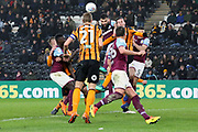 Aston Villa midfielder Mile Jedinak (15) heads the ball from a corner during the EFL Sky Bet Championship match between Hull City and Aston Villa at the KCOM Stadium, Kingston upon Hull, England on 31 March 2018. Picture by Mick Atkins.
