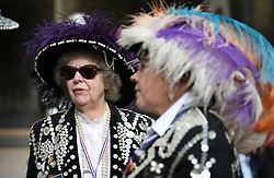 © Licensed to London News Pictures. 27/09/2015. London, UK. Pearly Queens gather in Guildhall Square during a Harvest Festival celebration. Photo credit: Peter Macdiarmid/LNP