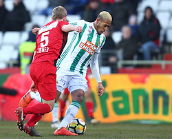 11.02.2018, BSFZ Arena, Maria Enzersdorf, AUT, 1. FBL, FC Flyeralarm Admira vs SK Rapid Wien, 22. Runde, im Bild Thomas Ebner (FC Flyeralarm Admira) und Joelinton Cassio Apolinaro De Lira (SK Rapid Wien) // during Austrian Bundesliga Football 22nd round match between FC Flyeralarm Admira vs SK Rapid Wien at the BSFZ Arena, Maria Enzersdorf, Austria on 2018/02/11. EXPA Pictures © 2018, PhotoCredit: EXPA/ Thomas Haumer