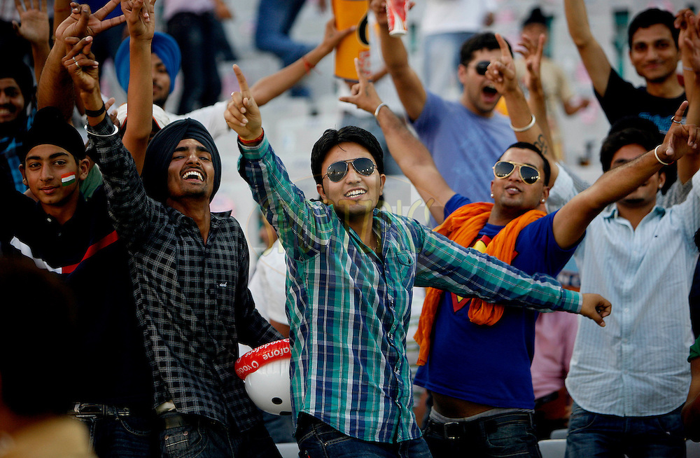 Crowd during match 51 of the Indian Premier League ( IPL ) Season 4 between the Kings XI Punjab and the Pune Warriors India held at the PCA stadium in Mohali, Chandigarh, India on the 8th May 2011..Photo by Money Sharma/BCCI/SPORTZPICS.