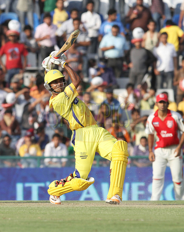 Subramaniam Badrinath of the Chennai Super Kings hits over the top for four during match 9 of the Indian Premier League ( IPL ) Season 4 between the Kings XI Punjab and the Chennai Super Kings held at the PCA stadium in Mohali, Chandigarh, India on the 13th April 2011..Photo by Shaun Roy/BCCI/SPORTZPICS