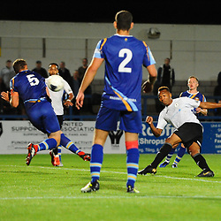 TELFORD COPYRIGHT MIKE SHERIDAN GOAL. Marcus Dinanga of Telford fires home to make it 2-2 during the National League North fixture between AFC Telford United and Gloucester City at the New Bucks Head Stadium on Tuesday, September 3, 2019<br /> <br /> Picture credit: Mike Sheridan<br /> <br /> MS201920-015