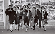 Teenagers posing outside club, Harrow, UK, 1983