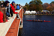 Spectators watch Day 2 of The 52nd Head of the Charles Regatta from the Eliot Bridge on October 23, 2016 in Cambridge, Massachusetts.