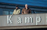 UTRECHT -  bondscoach Max Caldas met manager Joof Verhees tijdens  de hoofdklasse hockeywedstrijd mannen, Kampong-Amsterdam (4-3).  COPYRIGHT KOEN SUYK