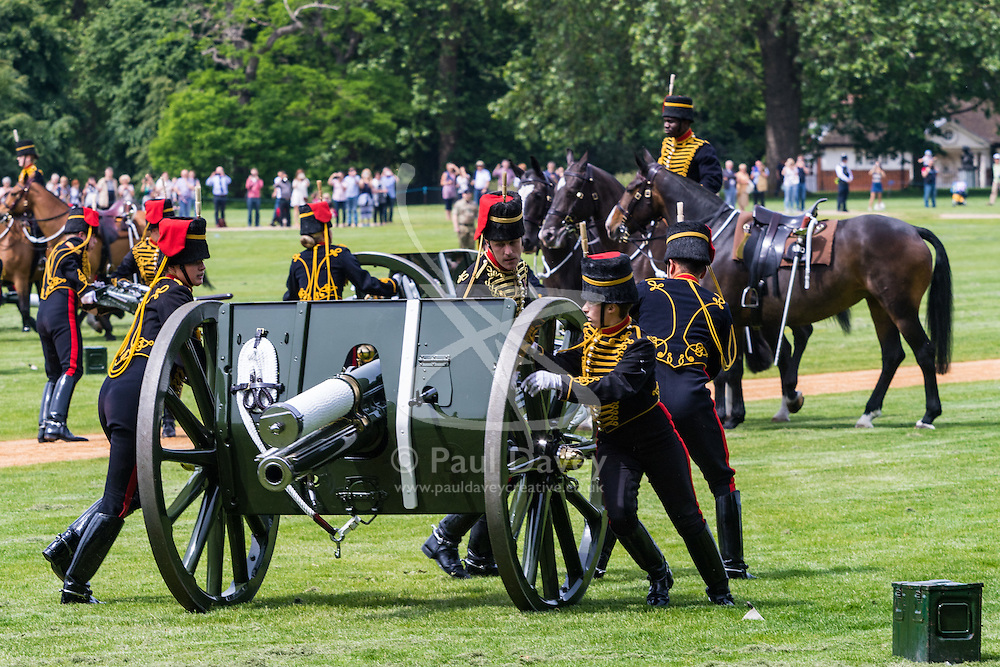 Hyde Park, London, June 10th 2016. As  part of the double celebration of HM The Queen and her Husband HRH Prince Philip, the King's Troop Royal Horse Artillery fire a 41 gun salute in honour of Prince Philip's 95th birthday in London's Hyde Park. PICTURED: The horse-drawn guns arrive.