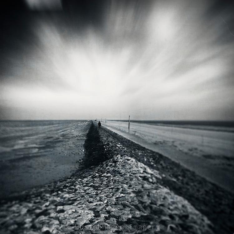 Monochrome seascape - textured photo.<br /> <br /> Prints &amp; more: http://society6.com/DirkWuestenhagenImagery/empty-sea_Print