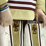 The goalie pads of Thatcher Demko #30 of the Boston College Eagles are seen following The Beanpot Championship Game at TD Garden on February 10, 2014 in Boston, Massachusetts. (Photo by Elan Kawesch)