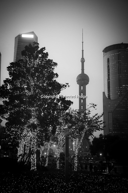 China, Shanghai. Pudong district, skyscrapers