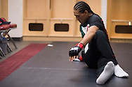 HOUSTON, TX - OCTOBER 3:  Francisco Trevino warms up backstage before his fight against Sage Northcutt during UFC 192 at the Toyota Center on October 3, 2015 in Houston, Texas. (Photo by Cooper Neill/Zuffa LLC/Zuffa LLC via Getty Images) *** Local Caption *** Francisco Trevino
