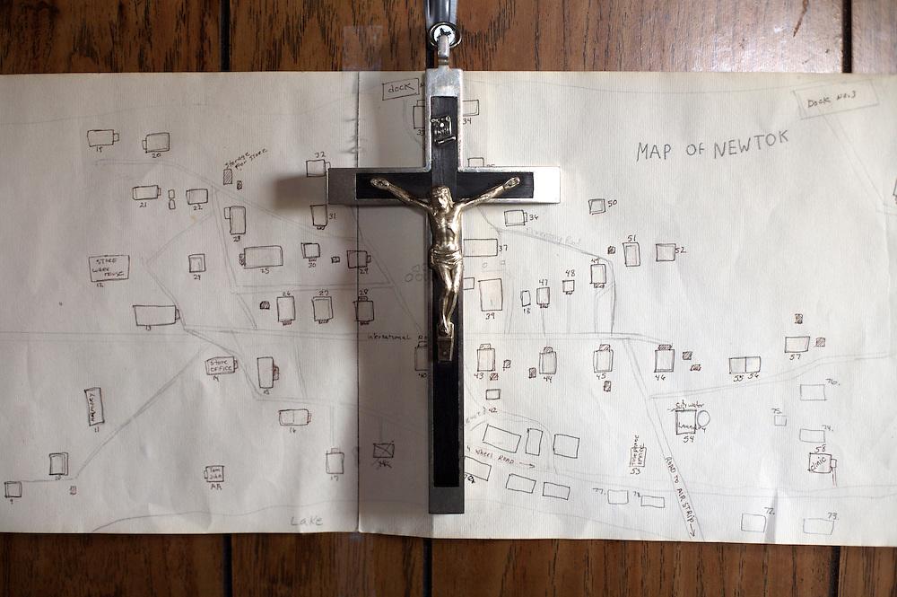 Map of Newtok in pastors home in Newtok, Alaska. 2008