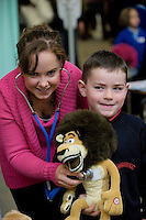 Brid Galvin from Cork and  NUI Galway Medical Student  with Jack Ramsey and his teddy at the Teddy bear Hospital in the University. Photo:Andrew Downes