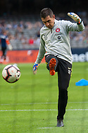 Western Sydney Wanderers goalkeeping coach Davide Del Giovine warms up with players at the Hyundai A-League Round 6 soccer match between Melbourne Victory and Western Sydney Wanderers at Marvel Stadium in Melbourne.