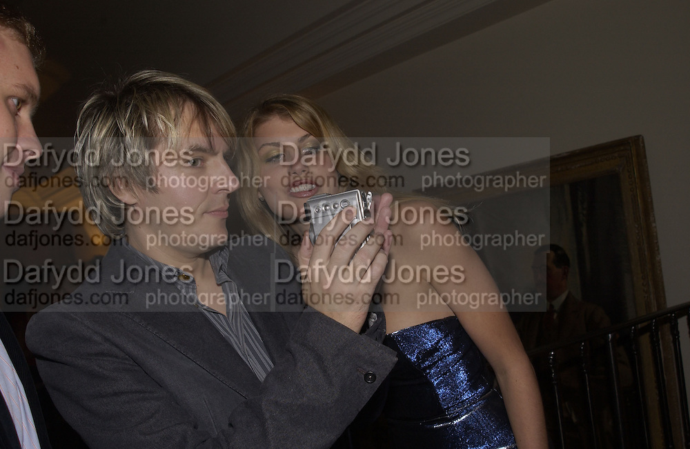 Meredith Ostron and Nick Rhodes. Party for fashion designer, Rebecca Davis hosted by Normandie Keith. Harrington Club. 18 February 2001. © Copyright Photograph by Dafydd Jones 66 Stockwell Park Rd. London SW9 0DA Tel 020 7733 0108 www.dafjones.com