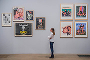 Advertising posters by Jeff Koons, Andy Warhol (L) - Tate Modern's new photography show, Performing for the Camera. The exhibition examines the relationship between photography and performance, from the invention of photography in the 19th century to the selfie culture of today, bringing together over 500 images spanning 150 years. Highlights include: artist Romain Mader and his series Ekaterina, which follows Romain's fictitious search for a bride in Eastern Europe; Amalia Ulman's social media sensation Excellences and Perfections performed over a four month period on Instagram; and a wall of artist-designed advertising posters by the likes of Jeff Koons, Andy Warhol and Joseph Beuys. Performing for the Camera is at Tate Modern from 18 February – 12 June 2016.