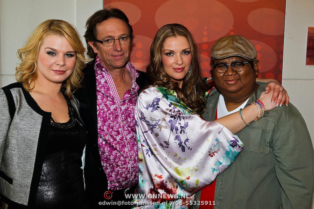 NLD/Hilversum/20100407 - Perspresentatie X-Factor 2010, Janna Linde Van den Broek, Sarina Kuipers, Dony Vernianto en Eric van Tijn