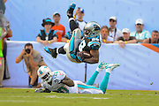 Carolina Panthers running back Jonathan Stewart (28) is tripped by Miami Dolphins free safety Reshad Jones (20) during the Panthers 20-16 win over the Dolphins at Sun Life Stadium on Nov. 24, 2013 in  in Miami Gardens, Florida.                 ©2013 Scott A. Miller
