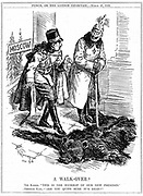 World War I: German emperor Wilhlem II regarding Russia as doormat to his new territories, while the Austrian emperor Charles I takes a more cautious approach. Cartoon from 'Punch', London, 27 March 1918.