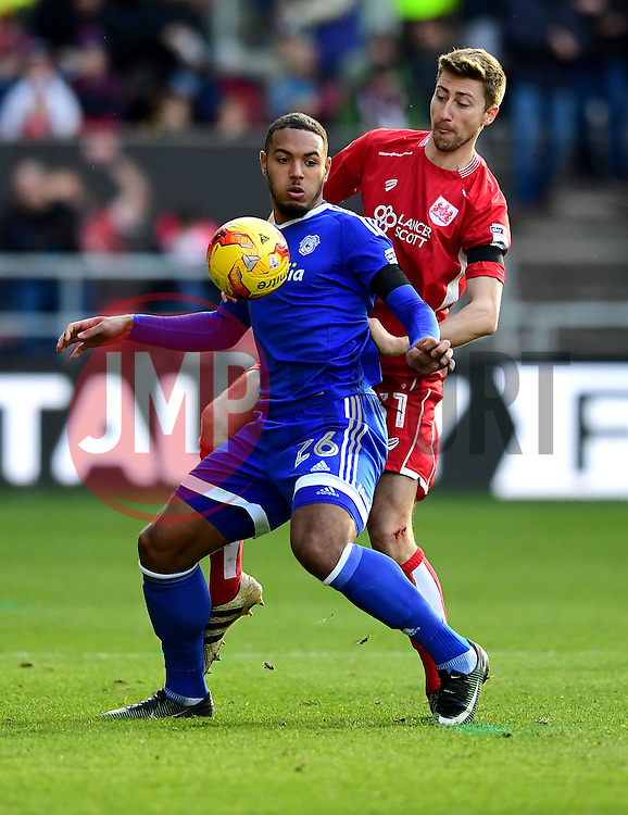Jens Hegeler of Bristol City battles for the ball with Kenneth Zohore of Cardiff City  - Mandatory by-line: Joe Meredith/JMP - 14/01/2017 - FOOTBALL - Ashton Gate - Bristol, England - Bristol City v Cardiff City - Sky Bet Championship