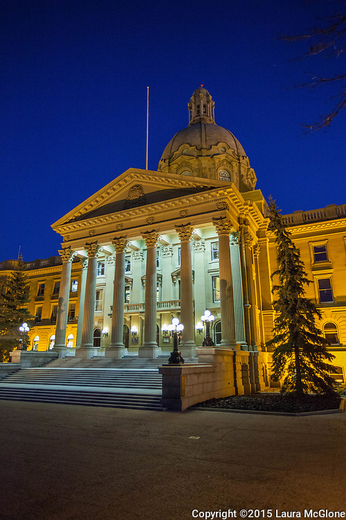 Alberta Legislature building at night, vertical, Alberta Canada