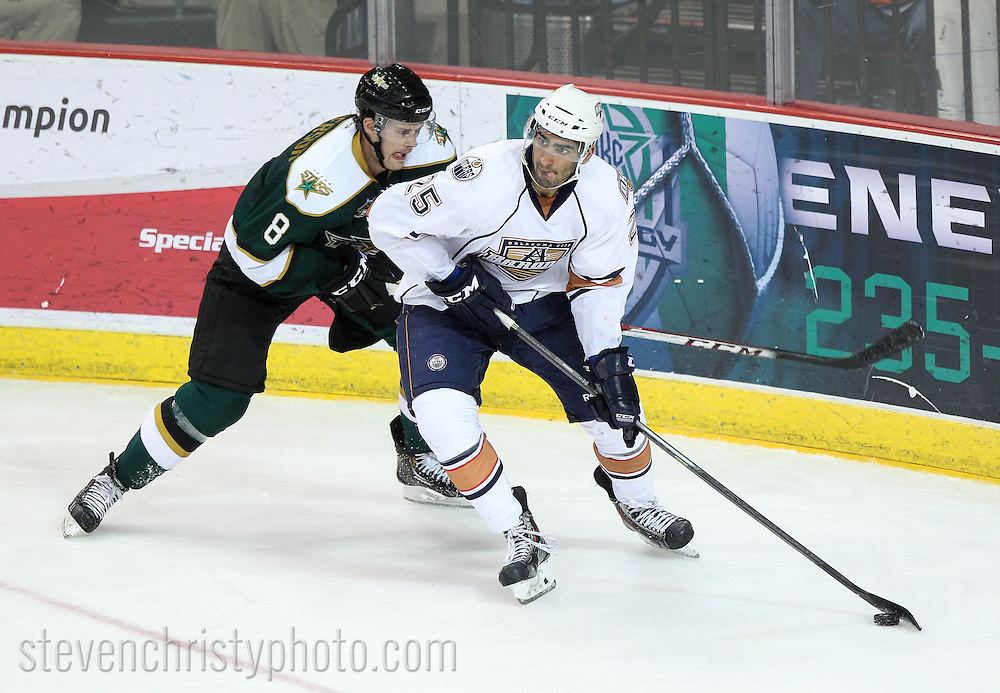 April 23, 2014: The Oklahoma City Barons play the Texas Stars in game 1 of the first round (western conference quarter-finals) of the American Hockey League playoffs. The game was played at the Cox Convention Center in Oklahoma City.