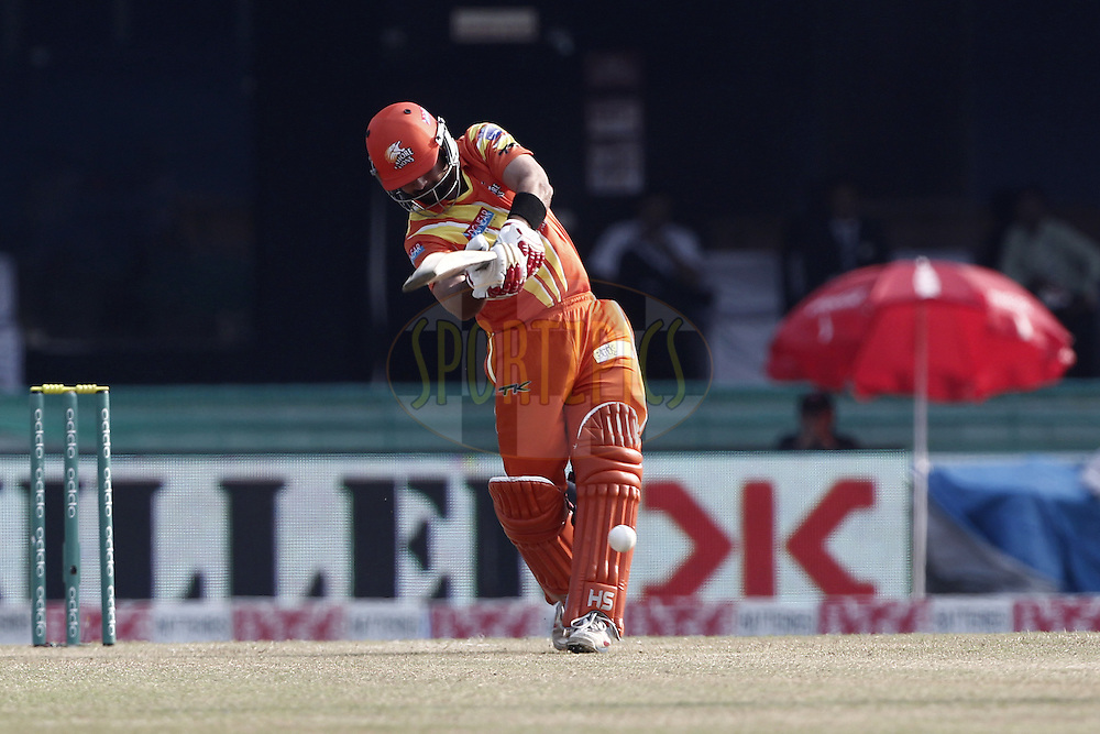 Ahmed Shehzad of the LAHORE LIONS during the qualifier 5 match of the Oppo Champions League Twenty20 between the Southern Express and the Lahore Lions held at the Chhattisgarh International Cricket Stadium, Raipur, India on the 16th September 2014<br /> <br /> Photo by:  Deepak Malik / Sportzpics/ CLT20<br /> <br /> <br /> Image use is subject to the terms and conditions as laid out by the BCCI/ CLT20.  The terms and conditions can be downloaded here:<br /> <br /> http://sportzpics.photoshelter.com/gallery/CLT20-Image-Terms-and-Conditions-2014/G0000IfNJn535VPU/C0000QhhKadWcjYs