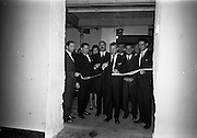 26/09/1962<br /> 09/26/1962<br /> 26 September 1962<br /> Opening of Earl Bottlers Ltd. at South Earl Street, Dublin. Minister for Justice Charles Haughey opened the new premises. Picture shows Mr Haughey (centre) cutting the tape official opening the plant. Also in the picture are the Directors of Earl Bottlers Ltd., Mr W. Campbell; Mr Tom MacAnaney; Mr E.M. Semple; Mr N. Beamish and Mr A. Dillon.