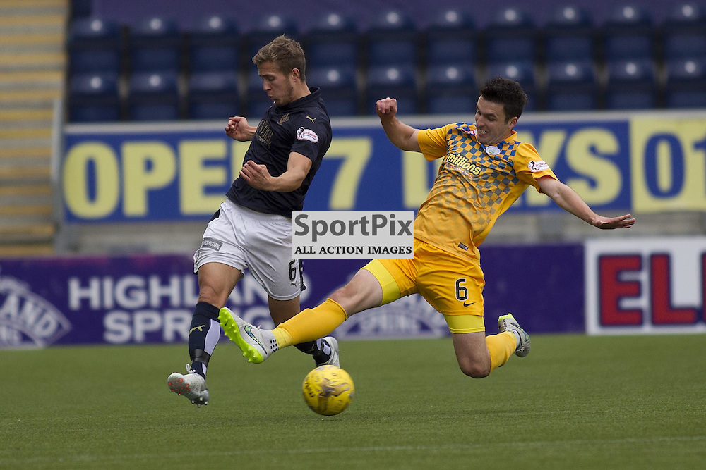 Will Vaulks of Falkirk and Michael Miller of Morton in action during the Ladbrokes Scottish Championship match between Falkirk FC and Greenock Morton FC at Falkirk Stadium on October 17, 2015 in Falkirk, Scotland. Photo by Jonathan Faulds/SportPix