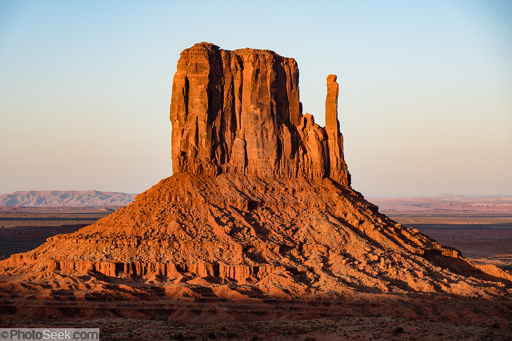 West Mitten at sunset in Monument Valley Navajo Tribal Park, Arizona, USA.